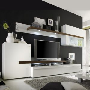Obývací stěna PIANO bílá / ořech