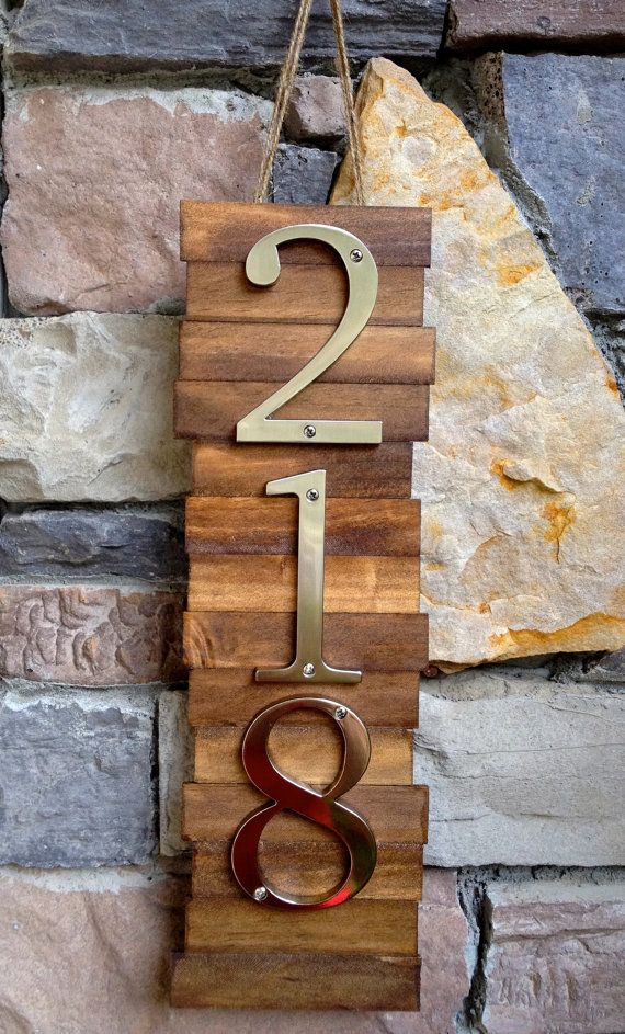 Decorative House Number Plaque (3#'s). Wooden Plaque Hanger w/ Metal Numbers. Hanging Wooden House Number Plaque. Suits Modern/Rustic Style.