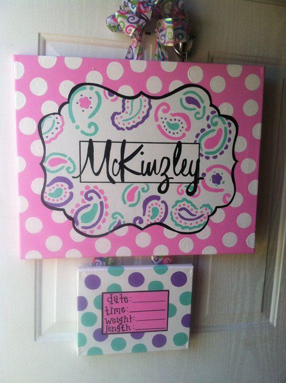 Hospital Door Hanger birth announcement canvas art hospital door wreath