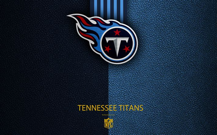 Download wallpapers Tennessee Titans, 4K, American football, logo, leather texture, Nashville, Tennessee, USA, emblem, NFL, National Football League, Southern Division