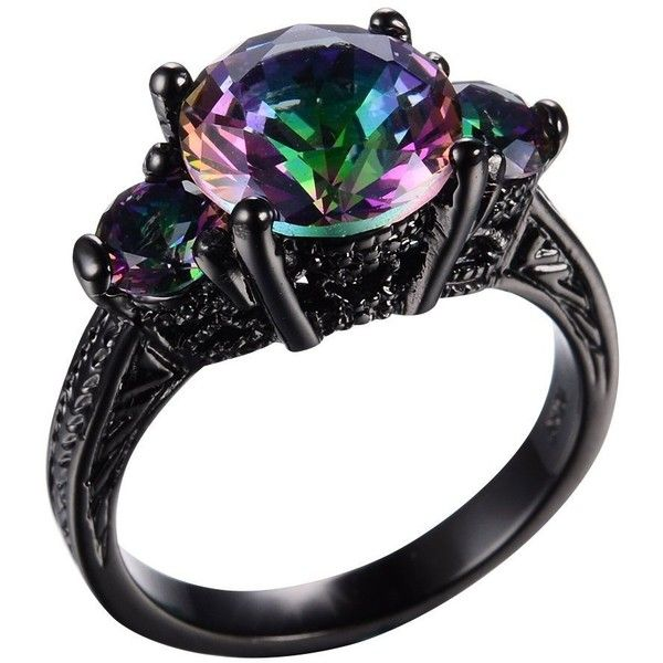 RongXing Jewelry New Mysterious Rainbow Topaz 14KT Black Gold Plated... ($12) ❤ liked on Polyvore featuring jewelry, rings, rainbow topaz ring, rainbow jewelry, gold plated jewellery, topaz jewelry and wedding rings