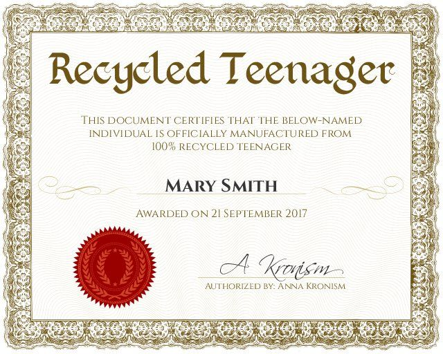 Recycled Teenager Certificate - Customizable with the free online certificate maker