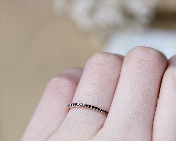 Solid 14K Rose Gold Black Diamond Band Wedding by JulianStudio