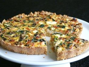 CHICKEN, SPINACH & FETA QUICHE WITH A QUINOA + PARMESAN (not completely Paleo but could be adapted )