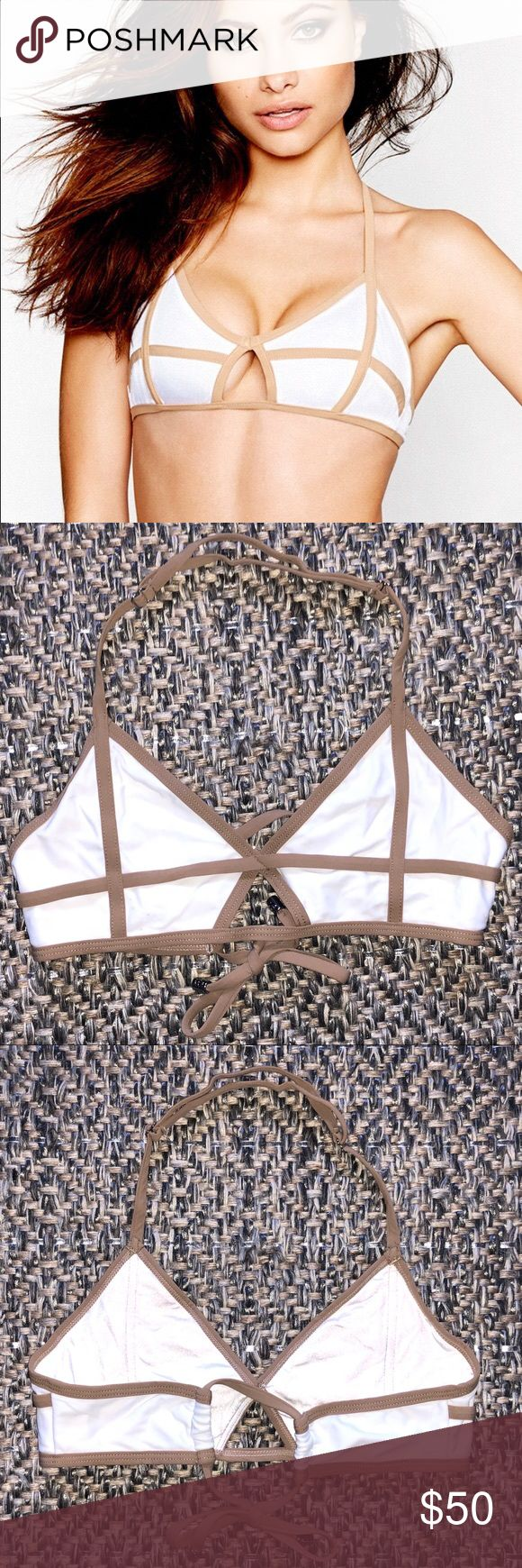Beach Bunny Swimwear Bikini Top Beach Bunny Swimwear Bikini Top in white and nude. Slider halter neck strap and back tie. I just noticed a couple spots on the top but they are very hard to notice.   Box 5 Beach Bunny Swim Bikinis