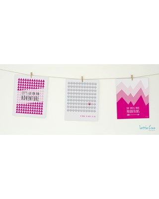 Lottie Coco - Classic Pink - Lets Go On An Adventure, Be Brave & Kid You'll Move Mountains prints. Print pack for your nursery or childs room. These packs come with string and mini wooden pegs hanging kit. www.lottiecoco.co.nz