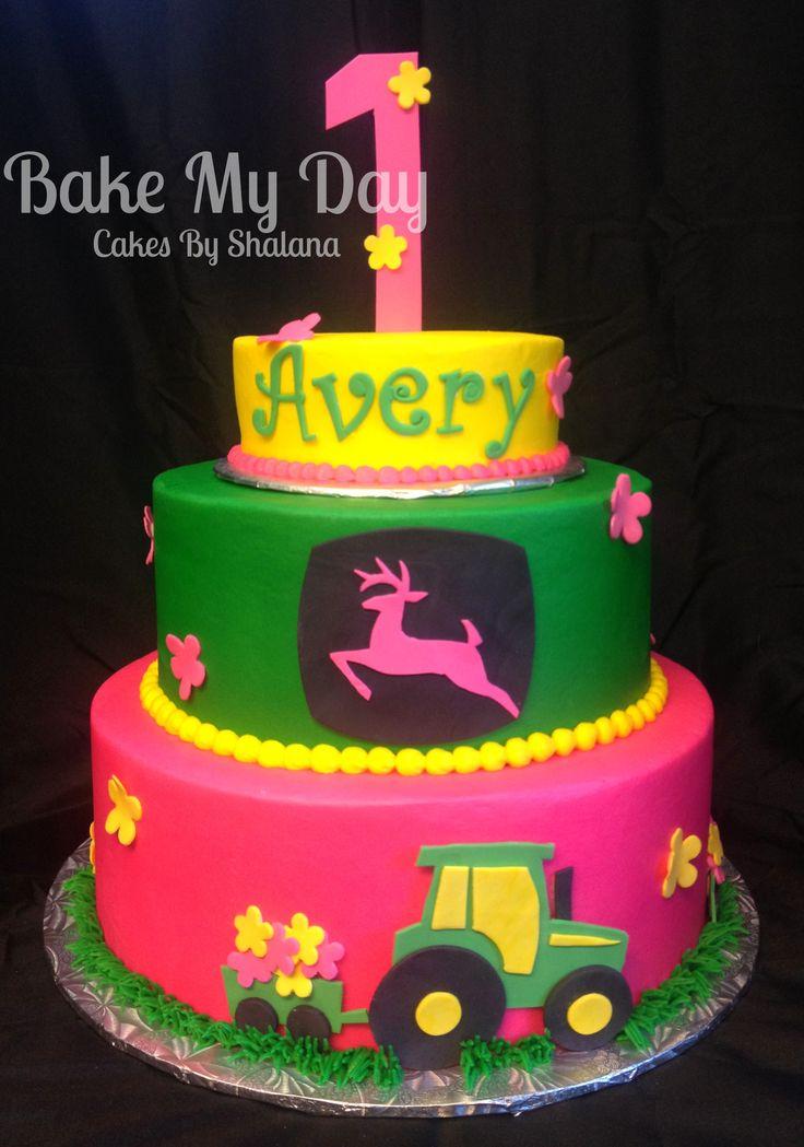 Pink John Deere Theme Cake Is Covered In Buttercream