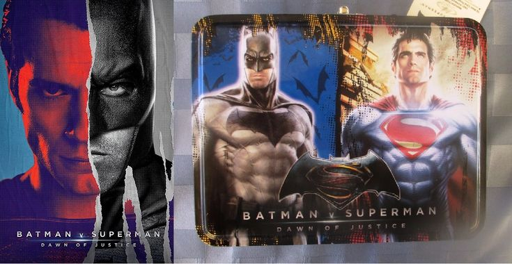Loncherita 'Batman v Superman' con la figura de los dos superhéroes igualita que en la homónima peli (2016) / 'Batman v. Superman' rectangular lunch box (empty)