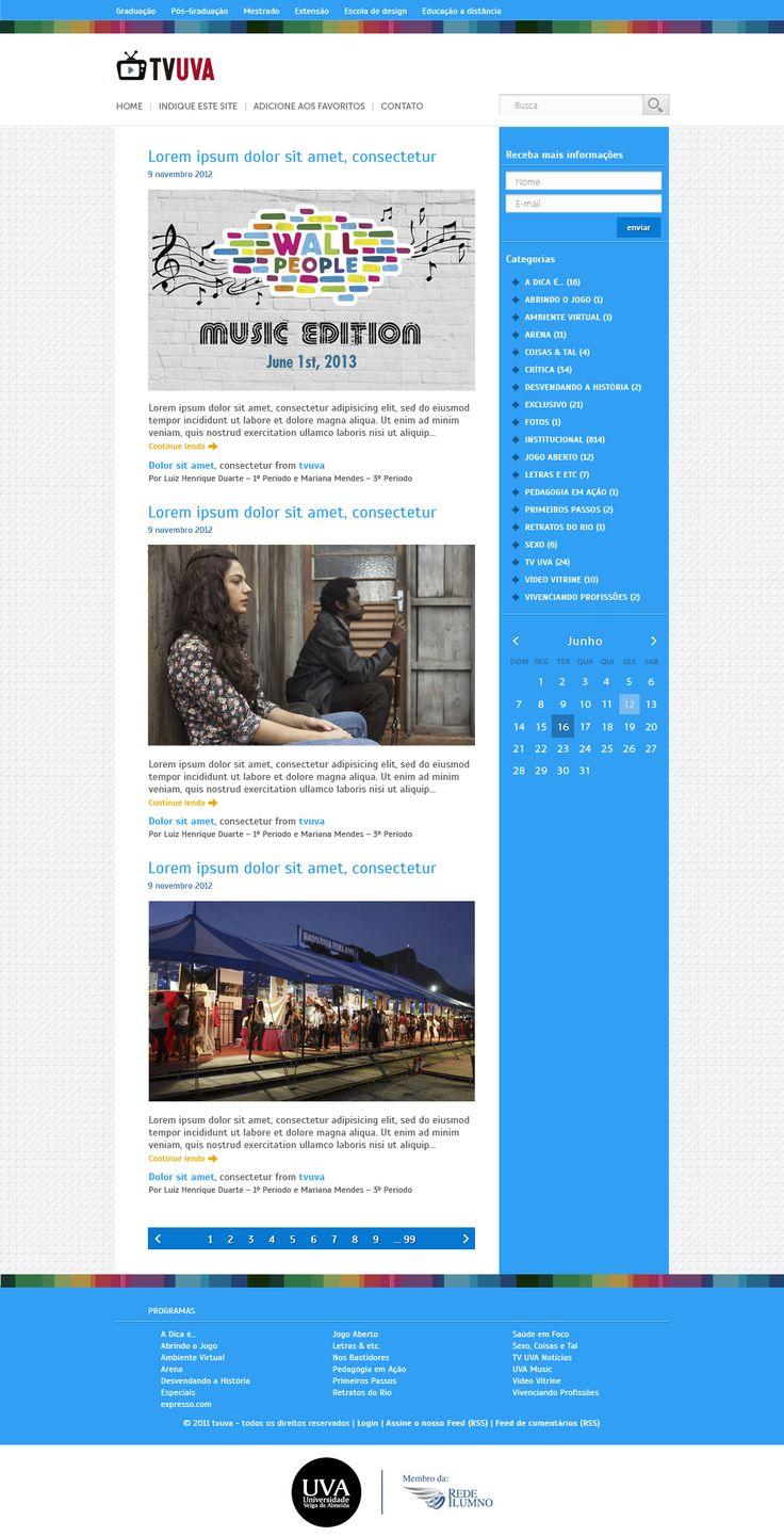 Redesign do blog tv uva.