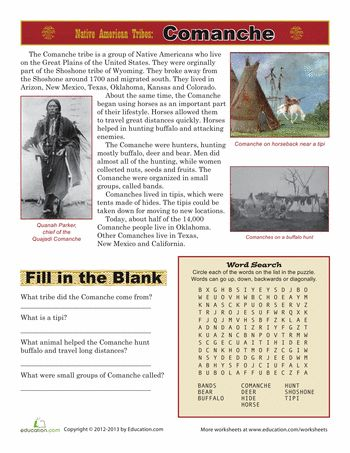 Worksheets: Native American Tribes: Comanche