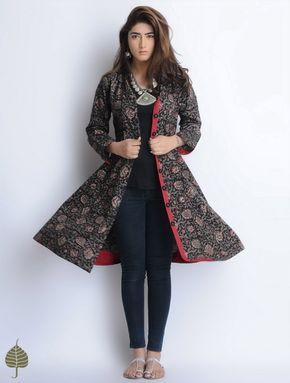 Black-Red-Grey Natural Dyed Bagru Printed Button Down Cotton Dress/Jacket by Jaypore