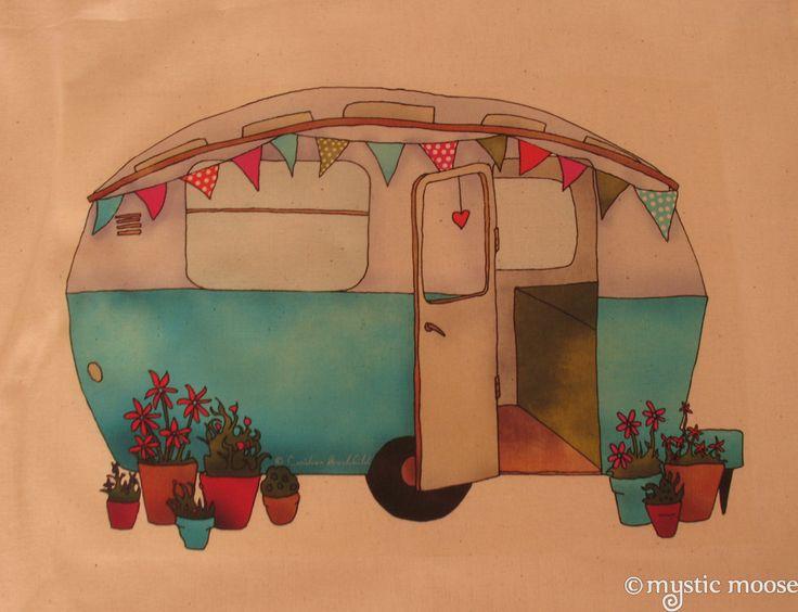 Vintage Blue Caravan Illustration - Lovely!
