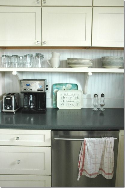 Small Shelf Under Cabinets For Items That Sit On Counter But Move Shelf Down 4 Inches Up From