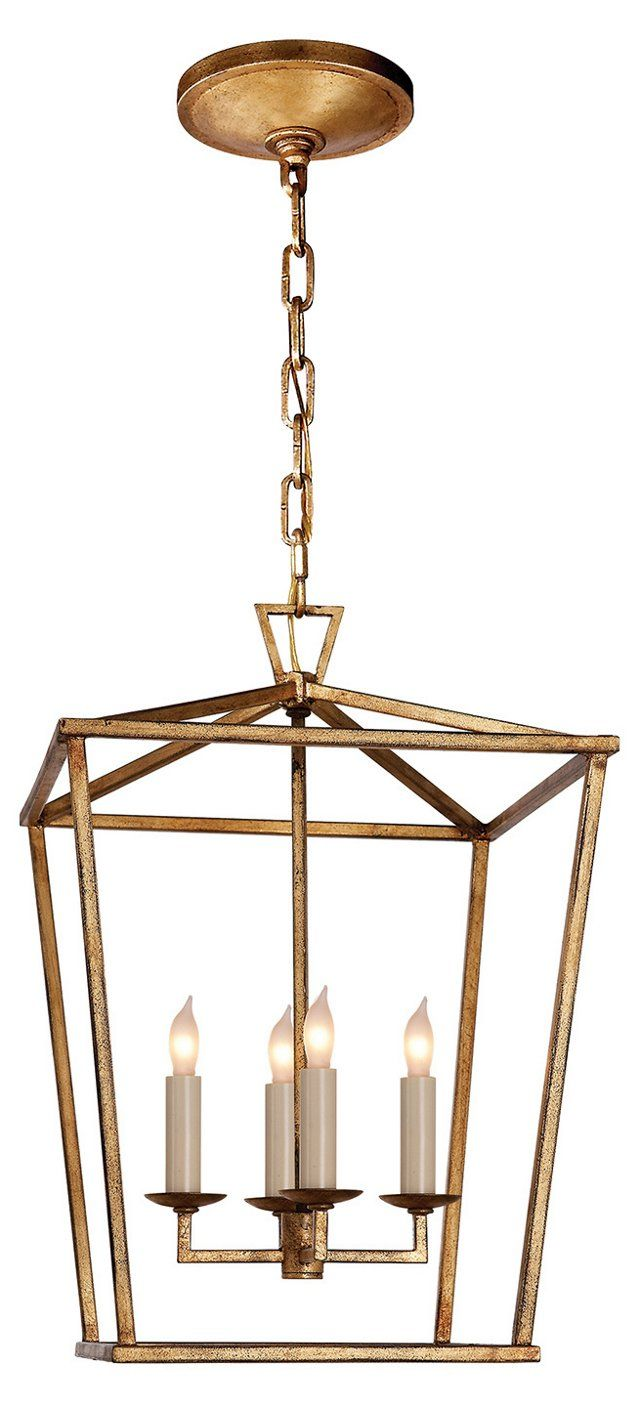 Visual Comfort Small Darlana Lantern, Gilded Iron