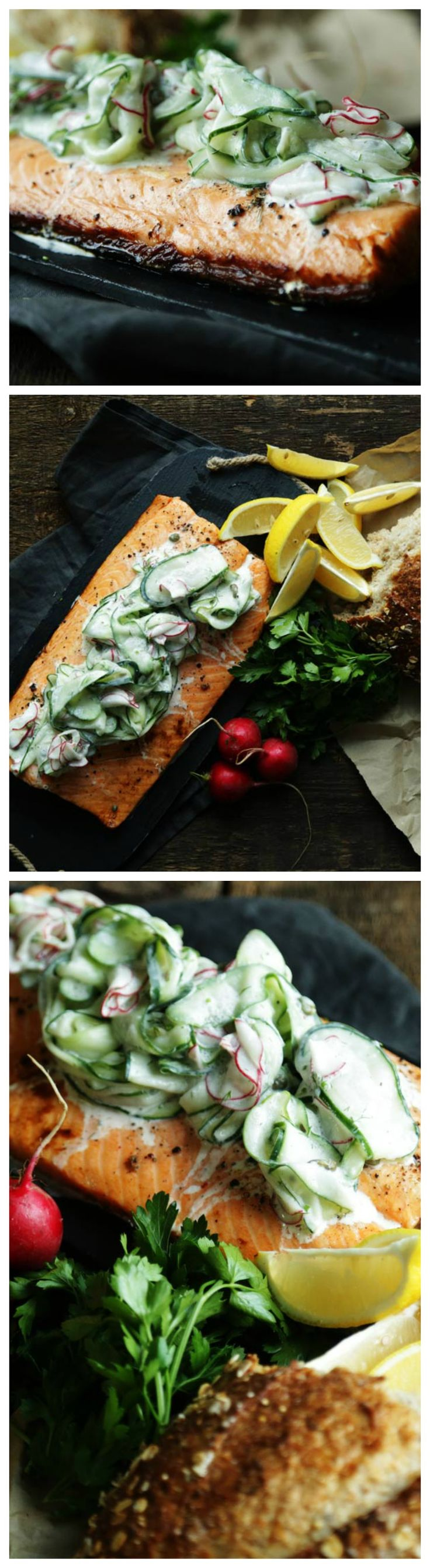 Roasted Salmon Cooked in Foil on the Grill and a Cucumber Dill Salad
