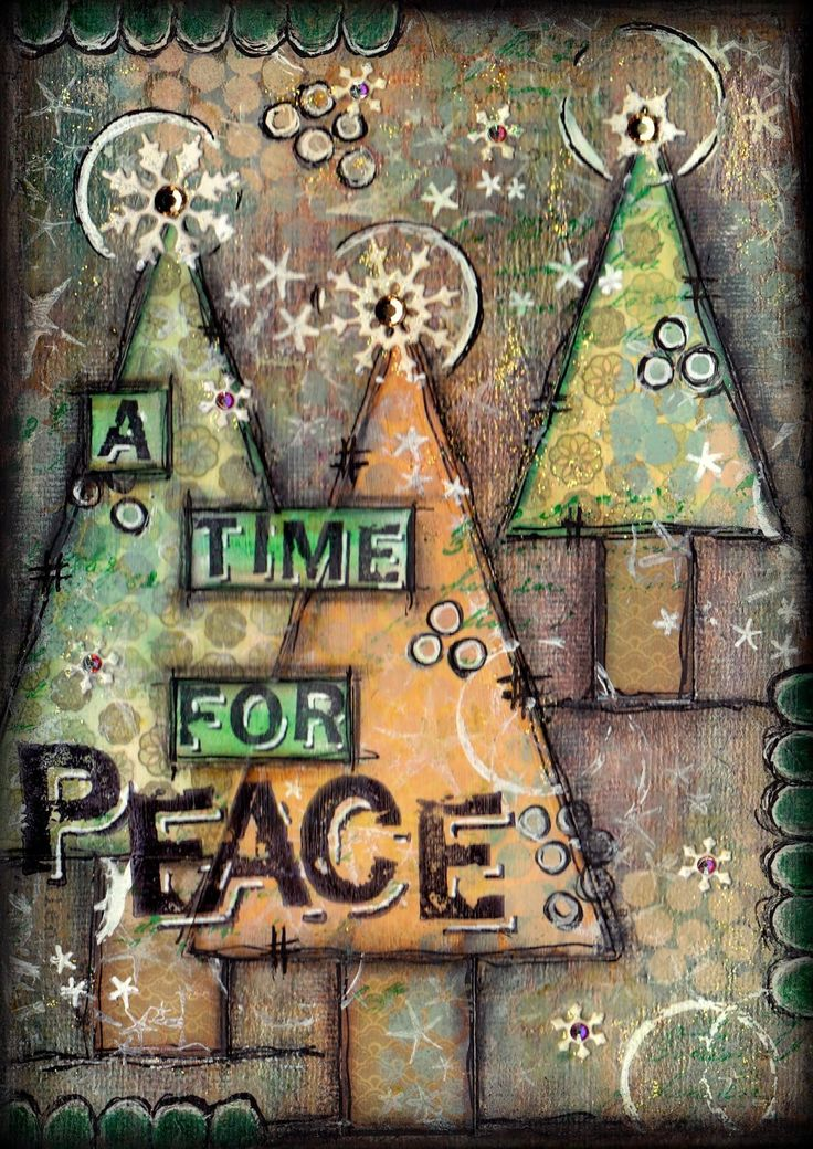 Artful Evidence: Christmas Tree Canvases -- could make this design into a great card!