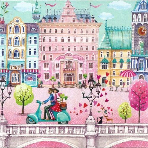 NUOVO-Cartolina-biglietto-di-auguri-14x14cm-mila-Marquis-COPPIA-SU-SCOOTER