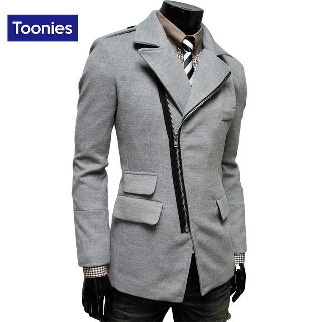 Roupas de Inverno 2016 dos homens da marca Tendência Sobretudo Irregular Oblíqua Bolso Com Zíper Lapela Casaco de Lã Dos Homens 4 Cores de Médio E Longo jaqueta