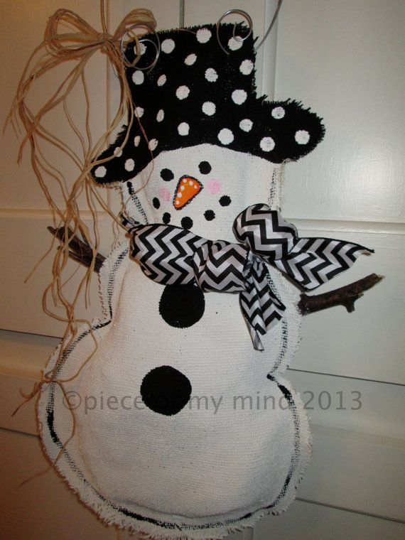 1070 best images about burlap decor door hangers on for Snowman made out of burlap