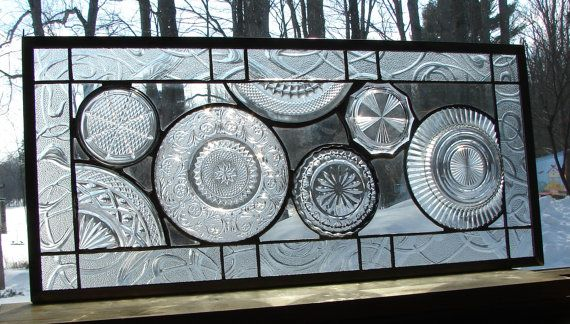 stained glass panel Vintage all Clear Plate panel custom available