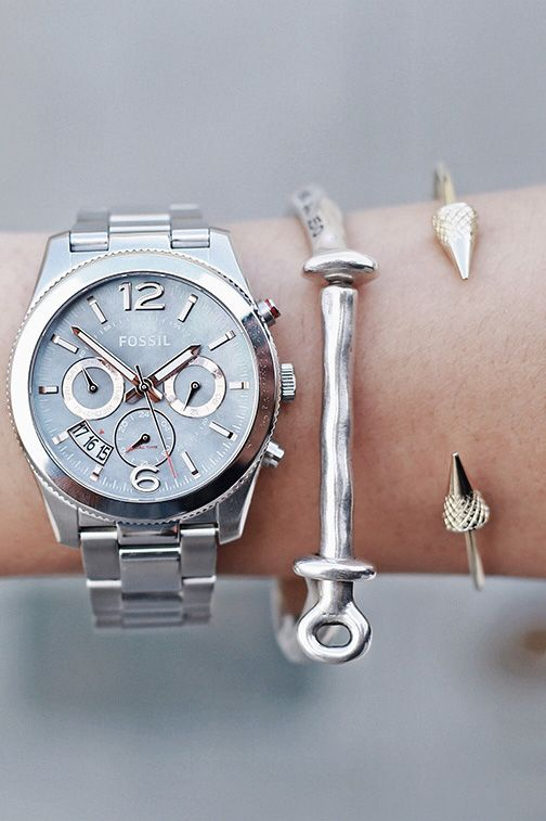 The Perfect Boyfriend watch completes a perfect stack. http://www.thesterlingsilver.com/product/fossil-womens-quartz-watch-ladies-dress-es3077-with-leather-strap/