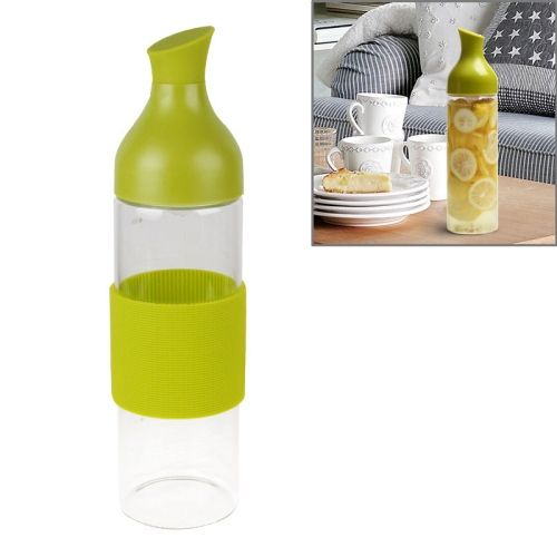 [$8.05] Creative Imitation Wine Bottle Glass Anti Scald Water Bottle with Filter Net(Green)