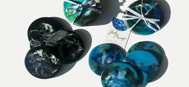 4pk Resin Coaster Sets Original one of a kind resin artworks as coasters.  Available from jadecrumps.bigcartel.com
