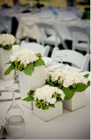 grouping of white vases