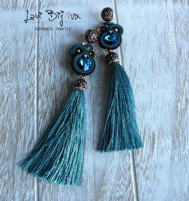 blue tassel Soutache Earrings Handmade Earrings Hand