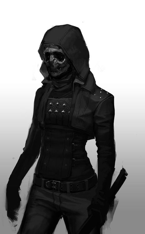 Rowan's battle gear. Maybe without the mask but with a cloth covering her nose and mouth instead.