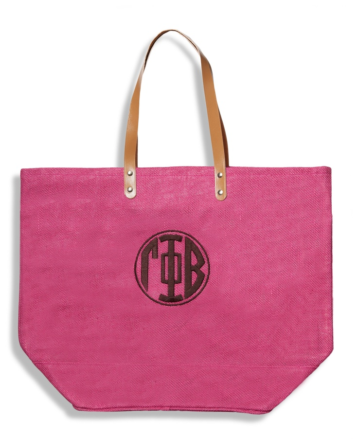 Gamma Phi Beta Jute tote.  Great Bid Day bag!  www.sassysorority.com