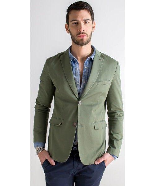 Giacca in 100% cotone disponibile in verde e blu.
