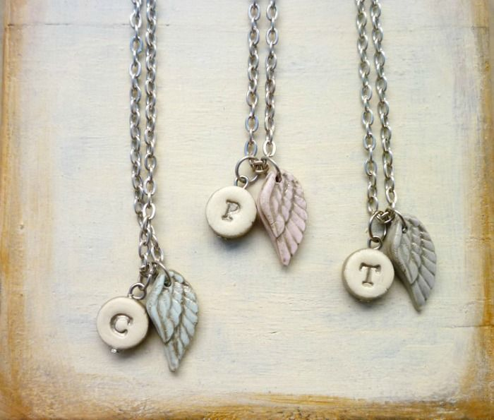 Baby Angel Wing Initial Necklace - Baby or Adult Necklace