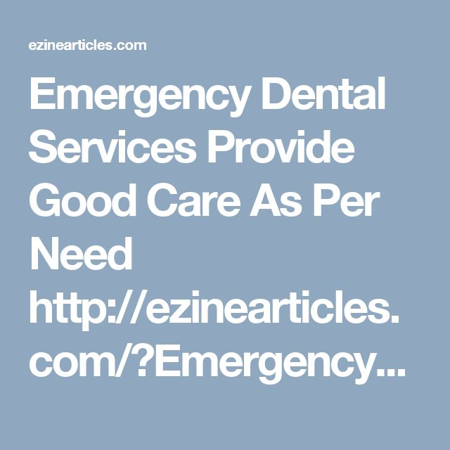 Emergency Dental Services Provide Good Care As Per Need http://ezinearticles.com/?Emergency-Dental-Services-Provide-Good-Care-As-Per-Need&id=9550282  Catering to emergency dental services is an occasional event, though serious enough. Most of the time the dedicated company staff are busy administering a range of treatments targeted at achieving optimum smiles and preserving them for long.