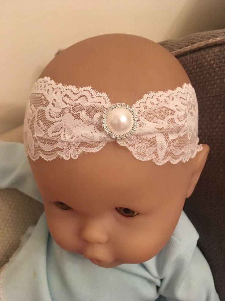 Baby White Christening Headband Pearl Lace Halo Baptism Wedding Girl Diamanté  | eBay