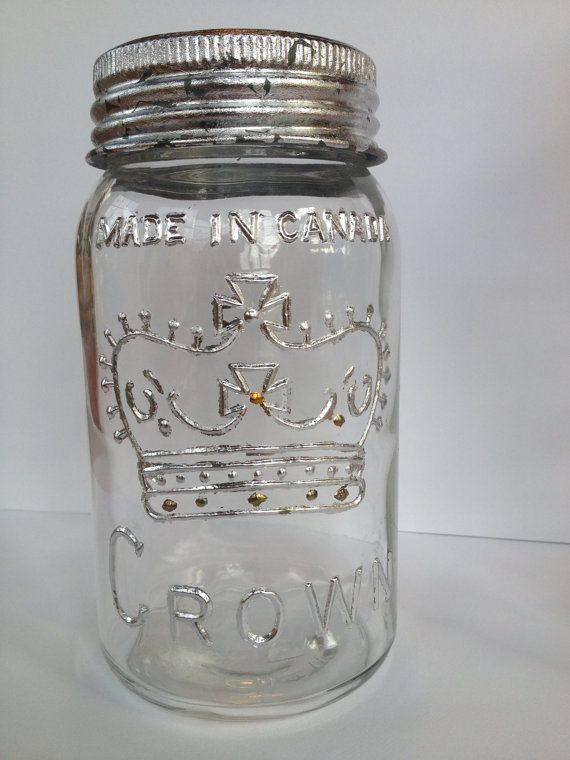 Vintage 'Made in Canada' mason jar with silver by OctoberandJuly, $35.00