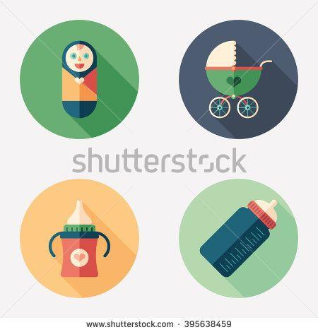 Newborn care flat round icon set. #love #loveillustration #flaticons #vectoricons #flatdesign