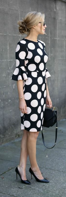 black and light pink polka dot bell-sleeve dress, black pointed toe pumps, black handbag, cat eye sunglasses + messy bun {asos, sjp collection, m2malletier, warby parker}