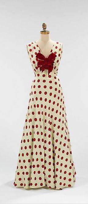 Bergdorf Goodman polka dot evening dress, c.1935 via The Met Museum