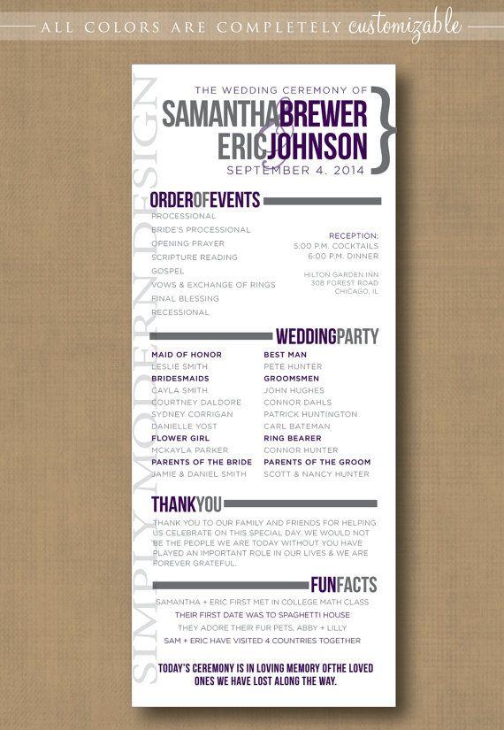 Modern Wedding Program Ceremony Program Wedding Invitation Sign