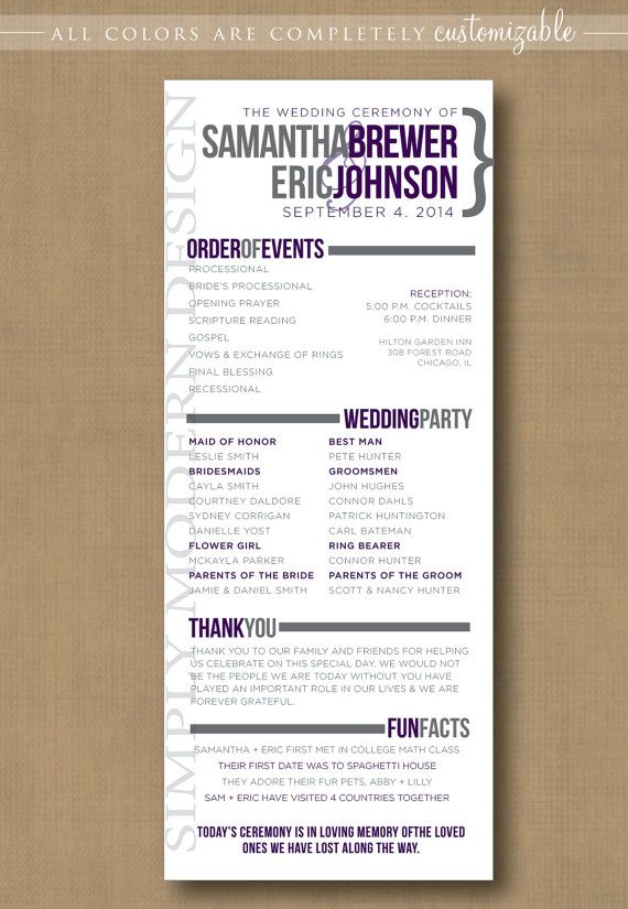 modern wedding program, PRINTABLE