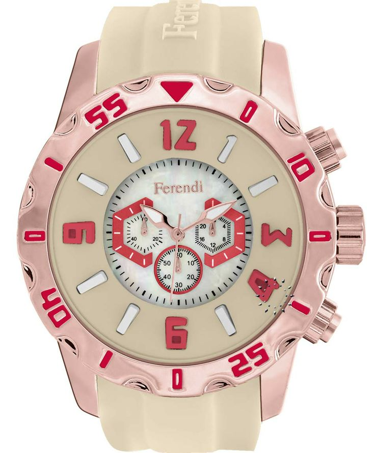 FERENDI Zeal Beige Rubber Strap Μοντέλο: 1309-28 Τιμή:	 59€. http://www.oroloi.gr/product_info.php?products_id=41304
