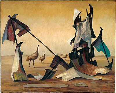 Emu's in a landscape - Russell Drysdale