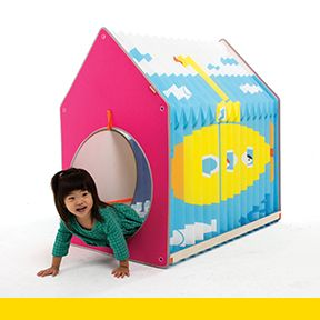 The Accordion Play House is a space-saving foldable playhouse for children that incorporates the unique folding principles of origami. It can be stretched and shrunk to change the form and size. It solves the problem of spatial inefficiency with a folding body that shrinks and stretches just like an accordion.  Designed by Kim Hyun-Gon of CRETOY Co., Ltd.  Contact: Hyun-Gon KIM - cretoy@naver.com