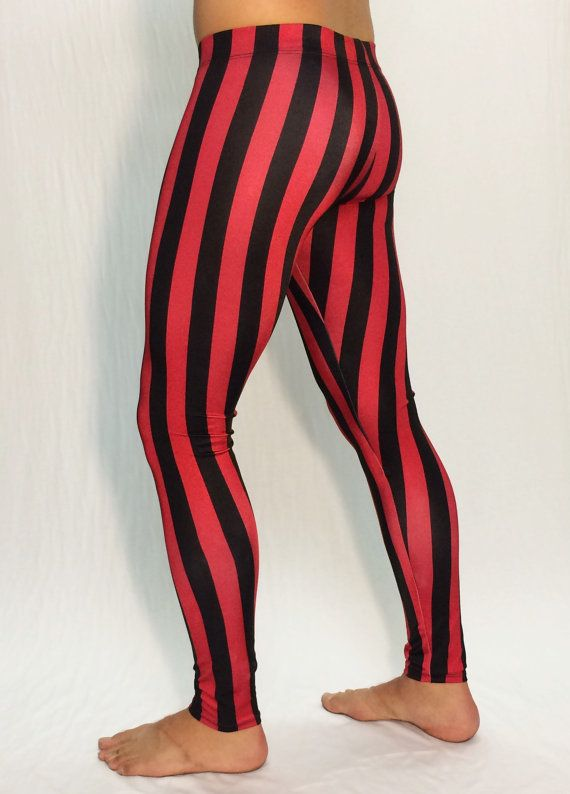 bf4e58cc71852 Red & Black Striped Circus Meggings // Steampunk Leggings // Pirate Pants  // Renaissance tights // C in 2019 | Products | Pants, Leggings, Tights