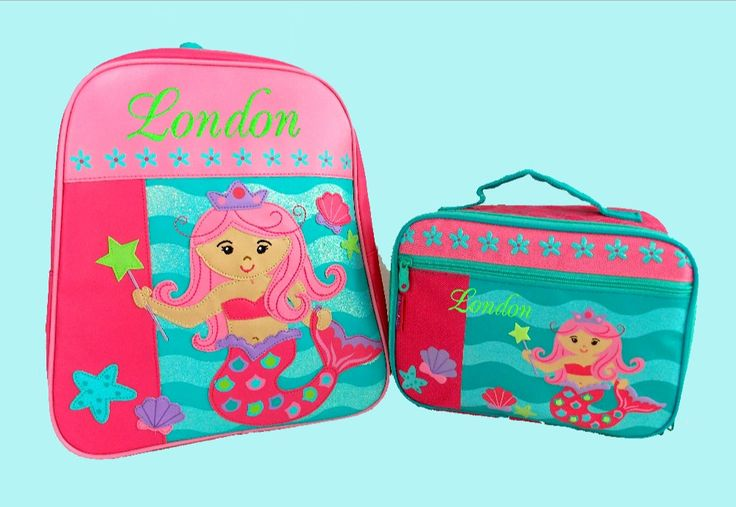 Child's Personalized Stephen Joseph GoGo MERMAID Themed Backpack and Lunchbox School Set-Monogramming Included In Price by DeerpathDesigns on Etsy