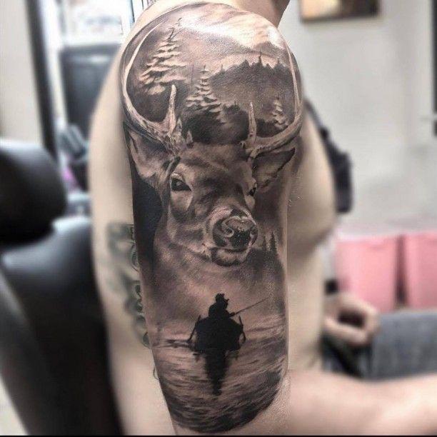 Tattoo Hirsch und Anglerboot