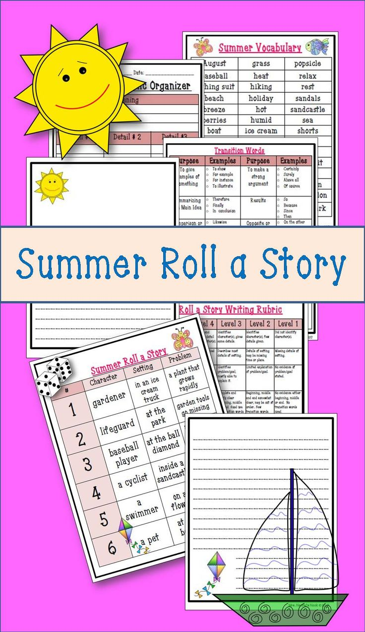 Here's a fun way to generate a story with a summer theme.  Using a dice and a template, students will create a story with a writing template outlining a summer adventure.  Rubric, transition word lists and summer vocabulary list is included.
