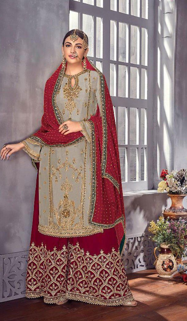 afa5ac465f Grey Color Foux Georgette Eid Special Sharara Salwar Suit Eid Special  Online Shopping Sale Up to