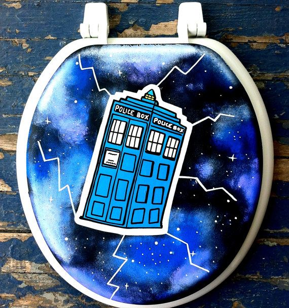Doctor Who TARDIS Hand Painted Toilet Seat Rock by Debbie Is Adopted... holy shit i need this toilet seat